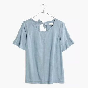 Madewell Bell Sleeve Chambray Bow-Back Top L